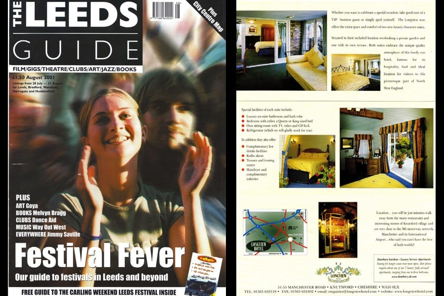 Leeds Guide Magazine front cover and Longview Hotel Brochure - photography by 123 Photography